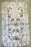 Antique Childs Bedspread Pink Floral Chenille Silk Embroidery Detail Quilt As Is