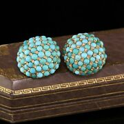 Antique Victorian 14k Yellow Gold Turquoise Earrings