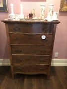 Beautiful Oak Five Drawer Dovetail Antique Chest Of Drawers Fantastic Condition