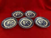 Five Old Willow Saucers English Ironstone Tableware 5 5/8 Diameter