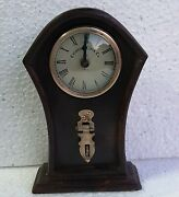 Old Collectible Wood Clock Unique Brass Work Hand Made Home Decor Art