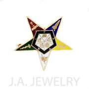 Order Of The Eastern Star 14k Gold And Hard Fired Enamel