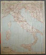 Italy - Antique Map - 1954 - Full Color - French School Room - Rome, Milan, Pisa