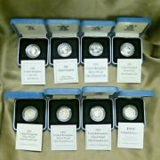 1989-1996 Great Britain Uk Andpound1 Silver 925 Proof Coin Lot Of 8 With Box And Coa
