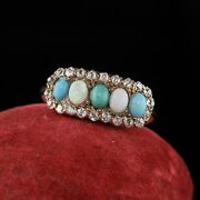 Antique Victorian Old Mine Cut Diamond Opal And Turquoise Ring