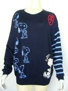 Castelbajac Peanuts Sweater 40 Snoopy Woodstock Fuzzy Patches Striped Sleeve M