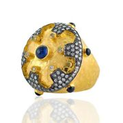 18k Solid Gold Blue Sapphire Diamond Ring Silver Vintage Ethnic Ring Jewelry
