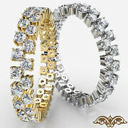Two Row Round Diamond Eternity Womenand039s Wedding Band Gold Ring 1.50 Ct.