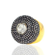 18k Gold Sterling Silver Pave Diamond Classy Vintage Dome Ring Fashion Jewelry