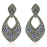 14k Gold 925 Silver Natural Diamond And Tanzanite Dangle Earrings Gift For Her