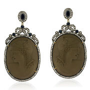 Pave Diamond Sapphire Gemstone Carved Sterling Silver Dangle Earrings 18k Gold