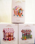 3 Hallmark Ornaments Bake Shop Gingerbread Lane And Flower Shop 2007, 2008 And 11