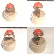 Antique Victorian Chinese Intrest Solid 14ct Yellow Gold Very Large Coral Ring