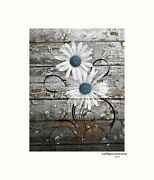 Blue Brown Farmhouse Bathroom Laundry Room Bedroom Photography Mattted Wall Art