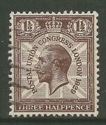 Stamps-great Britain. 1929. 1andfrac12d Puc Variety 1829 For 1929. Sg Ncom7c. Fine Used