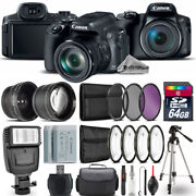 Canon Powershot Sx70 Hs Camera + Wide Angle And Telephoto Lens + Flash -64gb Kit