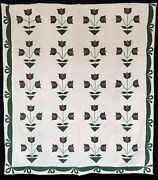 1850 Red And Green Applique Tulips Antique Quilt