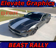 Fits Ford Mustang Rally Beast Stripes Vinyl Graphics Hood Decals Stickers 18-20