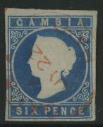 Gambia, Used, 2, Red Cancel, 4 Margins, Crisp, Great Centering