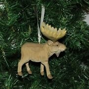 Hand Carved Wooden Moose Christmas Ornament