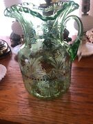 """Vintage Green Depression Glass 10"""" Pitcher With Handle Crimped Edge Floral Nice"""