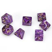 Polyhedral Dice - 7d Vortex Purple/gold Set - Chessex Free Shipping