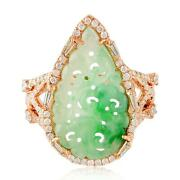 18k Rose Gold Hand-carved Jade Diamond Wedding Ring Classic Jewelry For Her