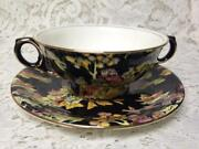 Vintage Royal Winton Grimwades Variant Gaudy Blue Willow Bouillon Cup N Saucer