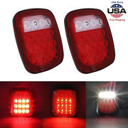 2pcs Led Tail Lights Rear Brake Lamps Turn Stop Reverse Fits Jeep Wrangler Tj Cj