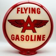 Flying A Gasoline White Background 13.5 Gas Pump Globe - Ships Assembled