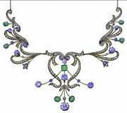 925 Silver Rose Cut Natural Emerald Sapphire And Diamond Victorian Style Necklace