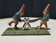 Vintage Gnomes Sawing German Mechanical Tin Penny Toy