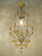 Italy Chandelier Lamp Amber Color Crystal Old Ceiling Lightings Used Lustre