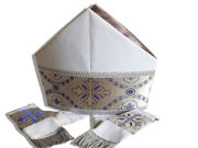 Beautiful Special White Bishop's Mitre With Grey Silver Satin Lining