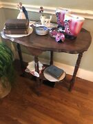 Antique Oak Side Table With Turned Legs And Beveled Edges Nice Finish
