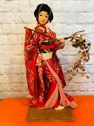 Vintage Hand Made Large 23 Japanese Paper Wood Geisha Doll With Wood Base