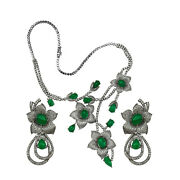 925 Silver Rose Cut Victorian Style Natural Diamond And Onyx Flowery Necklace Set