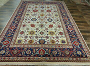 10and039x14and039 New Plush Hand Knotted Wool Super Mahal Oriental Ivory/navy Area Rug