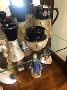 Lovatts Langley Ware Pottery 5 Piece Lot Coffee Pot Vases Bean Pot With Lids