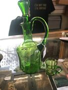 Victorian Green Glass Decanter Bottle With Stopper Hand Painted And Cup Absinthe