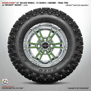 Set Of 4 Double Take Chrome Lime 57 Series Lifted Wheel And Tire 12 Golf Cart