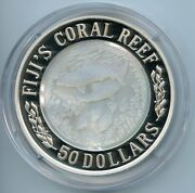 2005 50 .999 Silver Fijiand039s Coral Reef 5 Oz Silver Proof Coin Dfp 30 2/22