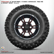 4 Double Take Satin Black Burgundy 57 Series Lifted Wheel And Tire 12 Golf Car