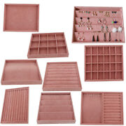 Pink Velvet Jewelry Display Tray For Exhibit Bracelet Ring Necklace Earrings
