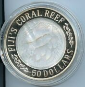 2005 50 Dollars Silver Fiji's Coral Reef 5 Oz Silver Proof Coin Dfp 71 2/24