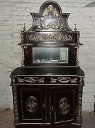 Very Large Hand Carved Mahogany Dresser Carvings Gold Trim
