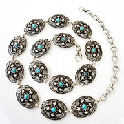 Navajo Inspired Antique Silver And Turquoise Concho Belt S/m/l- Made In Italy