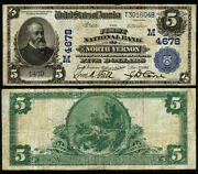North Vernon In 5 1902 Pb National Bank Note Ch 4678 First Nb Fine+