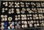 134 1970s Navajo Sterling Button Covers, Never Used Coral, Azurite, Turquoise..