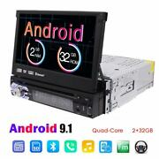 Single Din Android 9.1 Car Dvd Cd Player Radio 7 Flip Out Touch Screen Fm Us